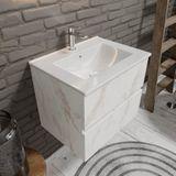 Zaro Malaga Keramische wastafel badkamermeubel 60cm wit marmer 1 kraangat met 2 lades