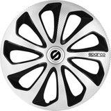 wieldoppen Sicilia 13 inch ABS zilver/zwart set van 4