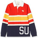 Scotch & Soda Jongens Yarn Dyed Stripe Long Sleeve Polo With Woven Collar Poloshirt