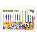 BIC 961543 Stationery Set Lijmstick/Mini Eraser/Correctie Tape/HB Grafiet Potlood/Balpen (Pak van 22)