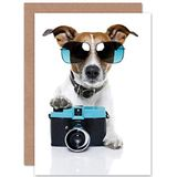 Wee Blauw Coo COOL JACK RUSSELL Hond CAMERA FOTO SUNGLASSES BLANK BIRTHDAY Kaart CP019