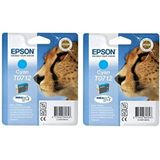 Epson T0712 x2 Original Durabrite inktcartridges, Cyaan (Twin Pack), echt, Amazon Dash Replenishment Ready