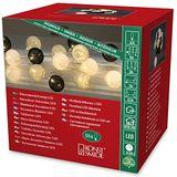 """Konstsmide 3136-573 LED decoratieve lichtketting """"grote zwart/grijs/witte katoenen bollen"""" / voor binnen (IP20) 24V binnentranfo / 16 warmwitte diodes / transparante kabel"""