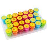 S'cool Zelfkleurende stempel kinderen stempel speelgoedstempel stempelset leerhulpstempel met cijfers verpakking 26 stuks