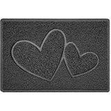Dubbele hart reliëf vorm deurmat Dirt-Trapper wasbare barrière deurmat-donkergrijs (waterdicht rubber-rug) -klein (60x40cm)