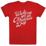 GAME ON Vrouwen Wake Me Up op kerstdag T-shirt, Rood (Cherry Red Acr), L