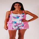 L. Bolt Floral Girly Overall Strawberry Pink Mono, dames, meerkleurig, S