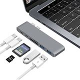 "Aluminium USB-C-hub adapter Dongle voor MacBook Pro 13"" en 15""2016/2017, Letscom Thunderbolt 3 Dock, TF/SD-kaartlezer, TB3, USB-C, 2 USB 3.0 poorten, voor MacBook Pro, grijs"