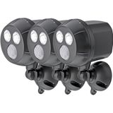 Mr Beams MB393 Draadloze werking, ultra helder, 300 lumen, LED, met bewegingsmelder, Brown Three-Pack spotlight set, kunststof, bruin