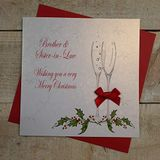 """White Cotton Cards X42 kerstkaart met opschrift""""Brother and Sister In-Law"""", handgemaakt, wit"""