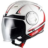 UNIK Heren Cj-11 Volt Jet Helmet Solar Glasses, Colour-Volt Wit/Rood, Size-Small Helm, Maat S