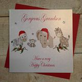 White Cotton Cards Gorgeous Grandson Have a Very Happy Christmas kerstkaarten in speelgoed design