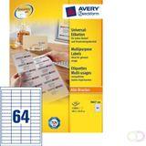 Etiket Avery Zweckform 3667 48.5x16.9mm wit 12800stuks kopen