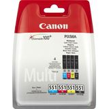 CANON CLI-551 Value Pack blister security 4x6 Phot Paper PP-201 50sheets + Cyan Magenta Yellow & Photo Black ink tanks