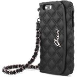 Guess Quilted Collectie Apple iPhone 6 / 6S Originele Silicone Clutch Case hoesje - Zwart