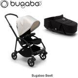 Bugaboo Bee6 Zwart Frame- Zwart Stijl Set- Fris Wit incl. Reiswieg