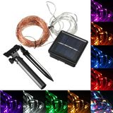 15M 150 LED Zonne-energie Koperdraad String Fairy Light Christmas Party Decor