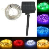 22M 150 LED Solar Powered Silver Wire String Fairy Light Voor Outdoor Holiday Decor + 7m Down-lead