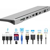 Bakeey 11-in-1 USB-C Hub-adapter met 3 * USB 3.0 / USB-C / 87W Type-C PD opladen / 4K HD Display / VGA / Ethernet RJ45 poort / 3,5 mm audio-aansluiting / geheugenkaartlezers