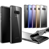 Luphie Metalen Bumper + 9H Transparant Tempered Glass Shell Case Voor Samsung Galaxy Note 8