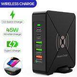 Bakeey 75W 5-Port USB PD Charger 45W USB-C PD Power Delivery & 18W QC3.0 Fast Charging & 10W Wireless Charger Fast Wireless Charging Pad For iPhone 12 12 Mini 12 Pro Max For Nintendo Switch