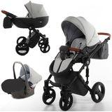 FreeOn Fashion Luxe Grijs-Zwart Combi Kinderwagen (incl. autostoel)