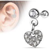 Helix piercing met kristallen bedekt hartje aan hanger - helder