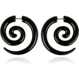 Tribal bone oorbellen Black Spiral