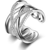 stapelbare twining clear cz ring dazzling zirconia engagement finger rings voor vrouwen