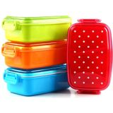 Draagbare Stip Lunch Voedsel Container Dozen Kids Fruit Snack Magnetron Bento Lunch Kom - Oranje