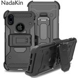 Front Back Heavy Duty Shockproof Hybrid Robuuste Armor Case met Riem Clip Holster Cover Voor iPhone 6 6 s 7 8 Plus X 5 5 s SE - for iPhone X