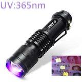 Mini led uv violet zaklamp 365nm zoomable black aluminium paars violet licht sk68 led zaklamp zaklamp door 14500 batterij