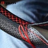 38 cm Auto Styling Black DIY Auto Stuurhoes Met Naalden en Discussie Echt kunstleer Auto-Styling accessoires - Zwart met rode lijn