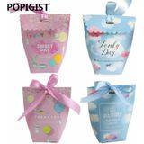Baby douche ZOETE DAG Papier Bonbondoos Roze Cadeau Verpakking Doos Bruiloft Gunsten Verpakking Met Lint 50 stks - Roze