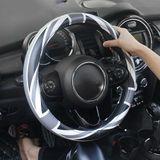 Universele Union Jack 38 CM PU Lederen Auto Stuurhoes Decoratie Voor Mini Cooper JCW S Clubman Countryman Auto Styling - Gray union jack