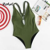 Romwe Sport Army Green Backless Vlakte Badpak Vrouwen Sexy Een Pieces Met Borst Pad 2018 ZomerSlim Bathing Monokinis - S