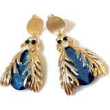 Blue Stone Insect Leuke Clip Oorbel