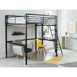 Hoogslaper CASUAL II - bed 140 x 190 cm - bureau - Antraciet