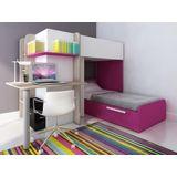 Stapelbed SAMUEL - 2 x 90 x 190 cm - Ingebouwd bureau - Wit grenen en roze