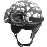 Chopper half helmet matt black multi skull -