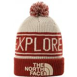 The North Face Retro TNF Pom Beanie Muts (rood/beige)