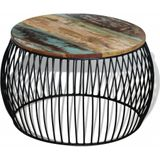 Salontafel rond 68x43 cm massief gerecycled hout