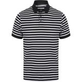 Front Row Mens Striped Jersey Polo Shirt (Navy/White)