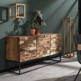 Driedeurs dressoir ingelegd acaciahout - 160x45x81cm.