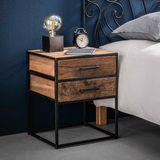 Industrieel nachtkastje oud hout 2 lades - 45x40x55cm.