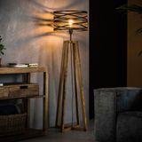 Staande lamp hout met metaal