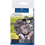 Faber Castell FC-167107 Tekenstift Faber-Castell Pitt Artist Pen Manga 8-delig Etui Basic