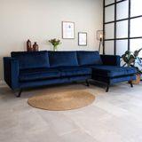 Dimehouse | Hoekbank Gino hoekdeel rechts velours blauw 270x150 cm hoekbanken | NADUVI