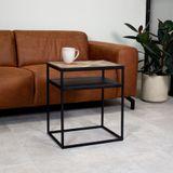 Dimehouse   Nachtkastje Ruby hoogte 55 cmbreedte 45 cm bruin, zwart salontafels teakhout, metaal tafels meubels   NADUVI outlet