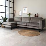 Dimehouse | Hoekbank Gino hoekdeel links velours grijs 270x150 cm hoekbanken | NADUVI
